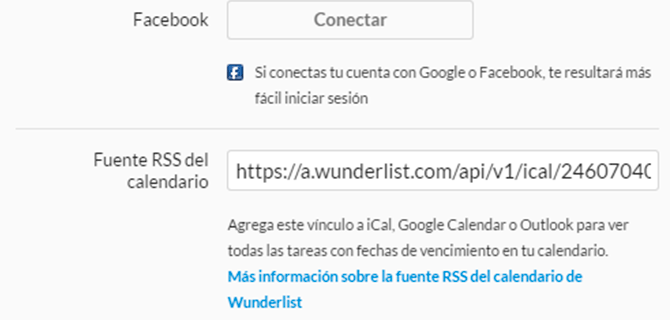 calendario rss feed wunderlist